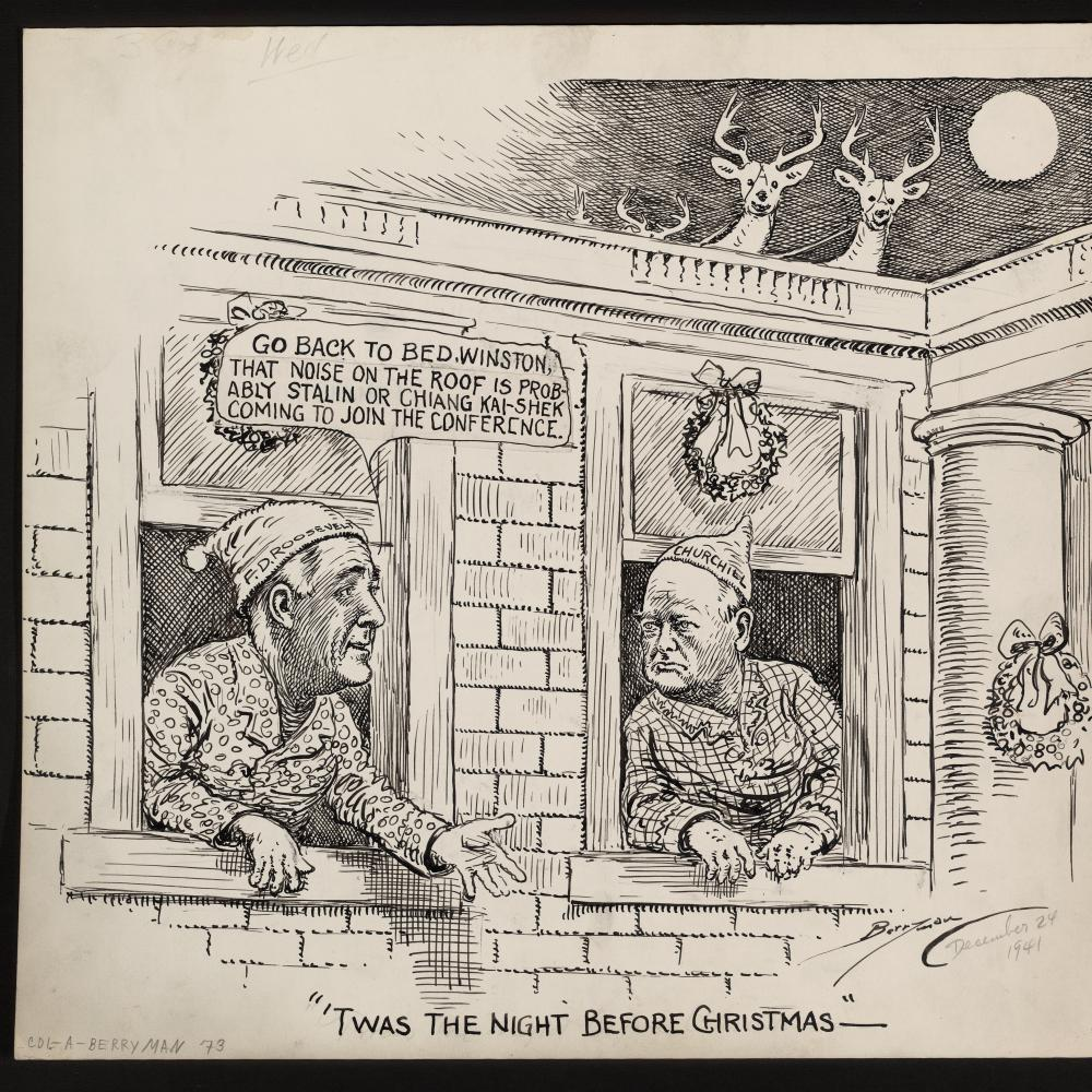 Political cartoon of FDR and Churchill, showing the two men having a conversation in their pajamas about World War two