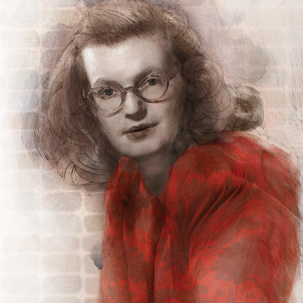 Illustration of Shirley Jackson