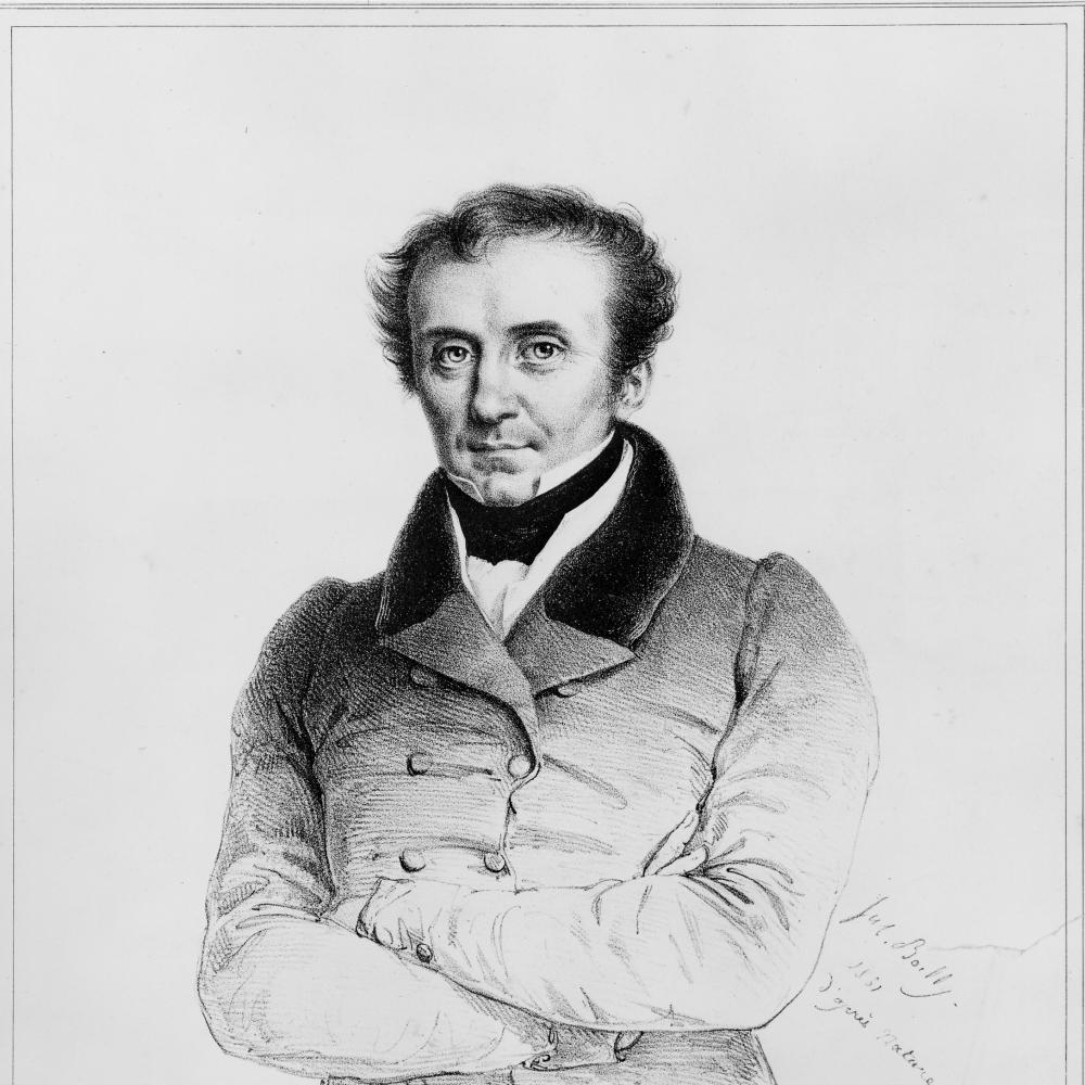 black and white engraving of a man in a coat with his arms crossed