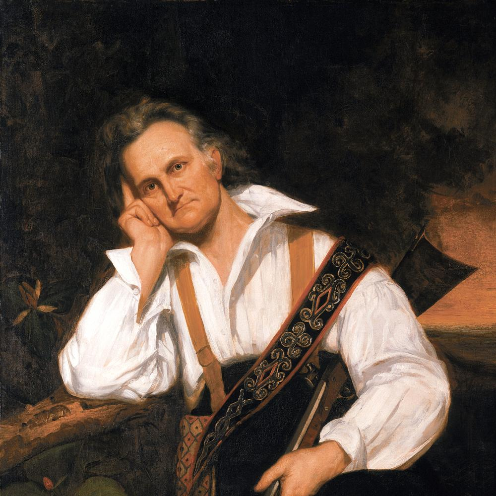 oil painting of man resting head in hand, holding a rifle casually