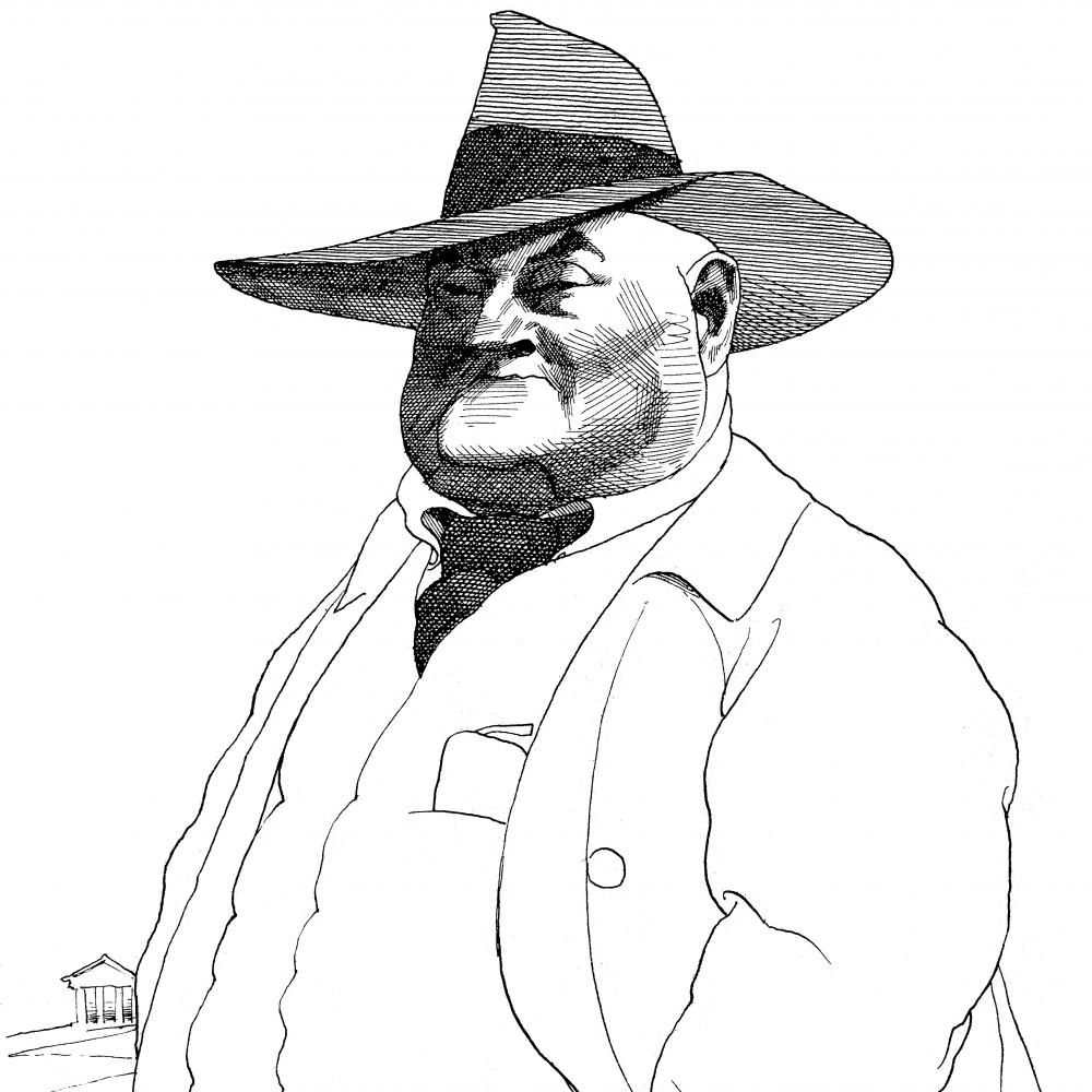 line drawing of a large man in a wide-brimmed hat