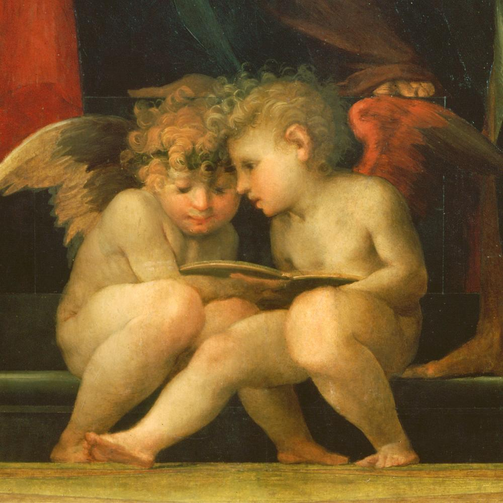 oil painting of two cherubs
