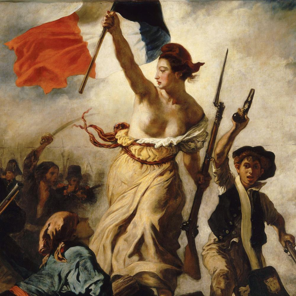 A barebreasted woman wearing a red cap holds the French flag high in one hand and a bayonet in the other while leading a crowd of armed men