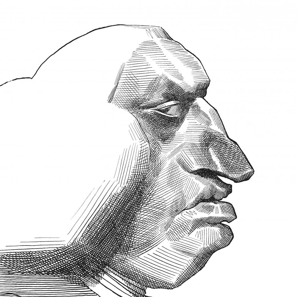 Caricature in profile of Johnson, emphasizing his cloud of white hair, hawkish nose and pouty lips