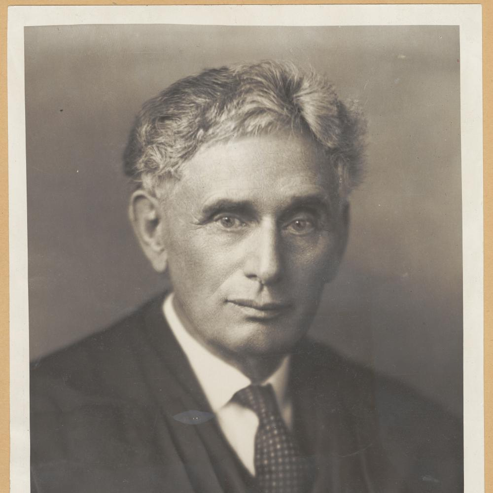Sketch of Brandeis, in a dark suit, white shirt, and tie, with wavy gray hair