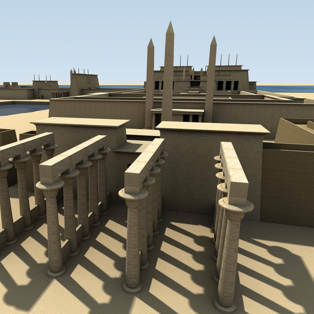 a digital rendering of four rows of stone columns, tall city walls, and a large building complex in the distance