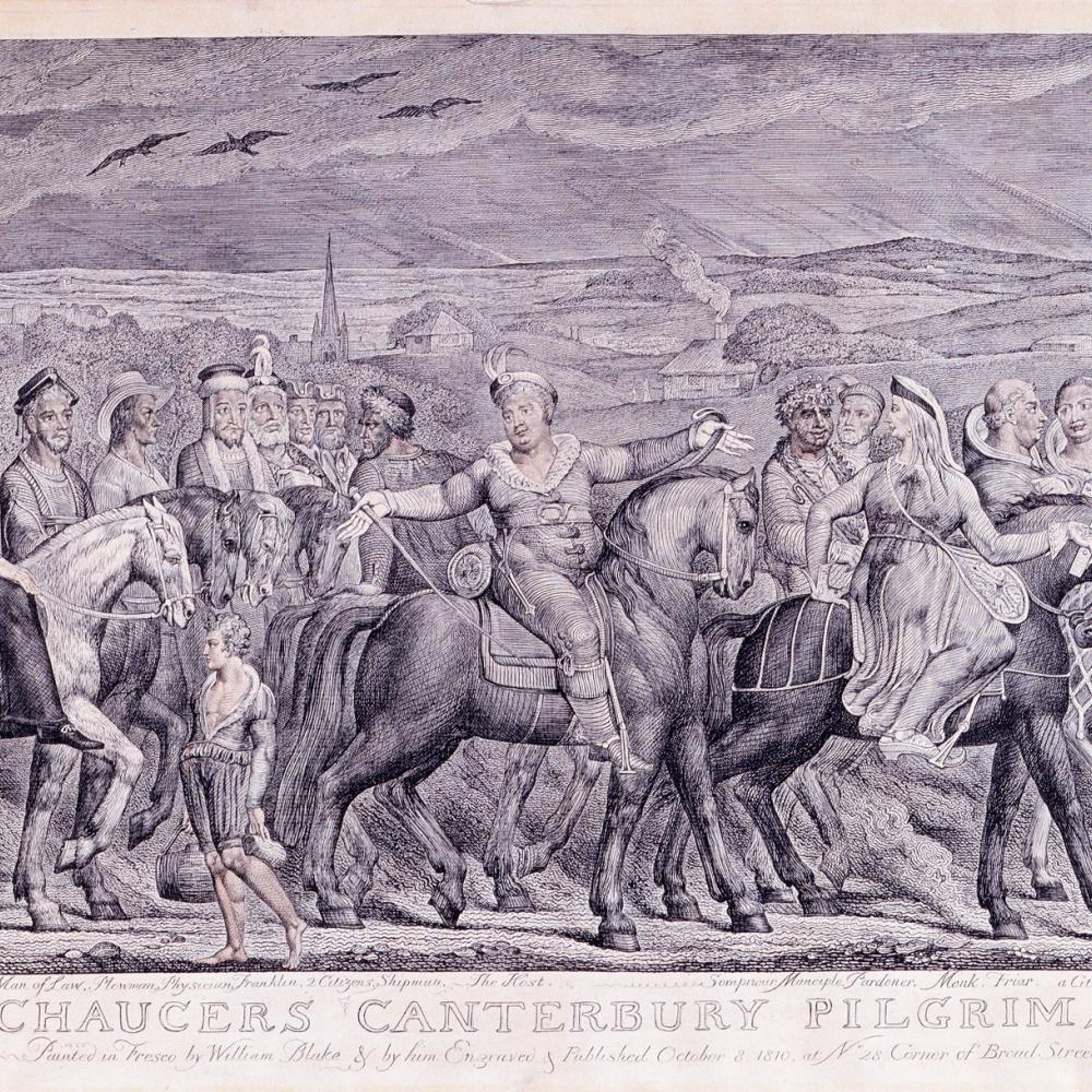 A procession of pilgrims, both rich and poor, walk or ride horses