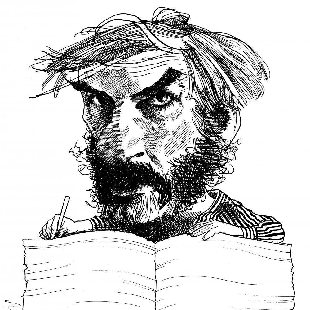 Stylized line drawing of a man writing in a large book