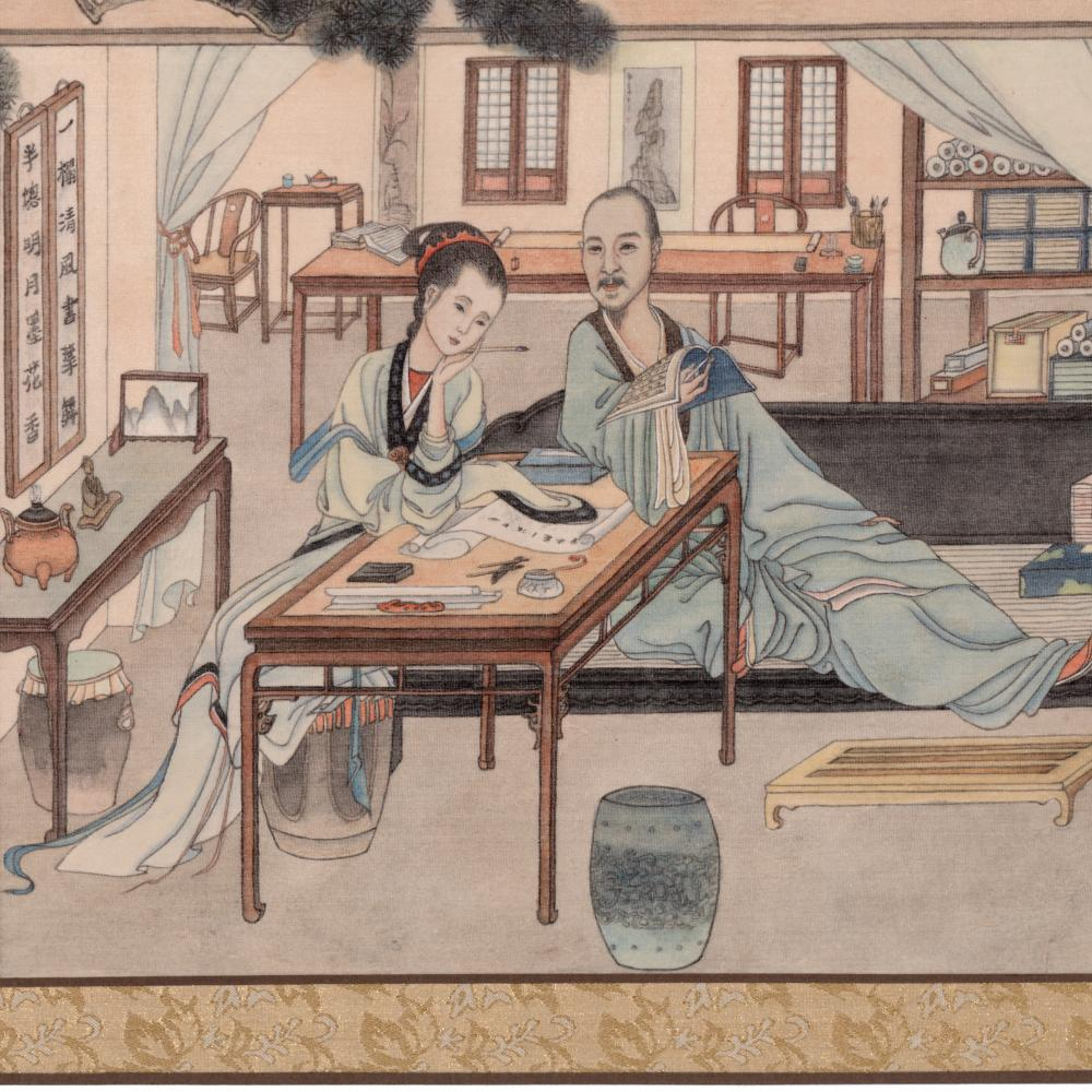 Ink drawing on silk of a man and woman at a table