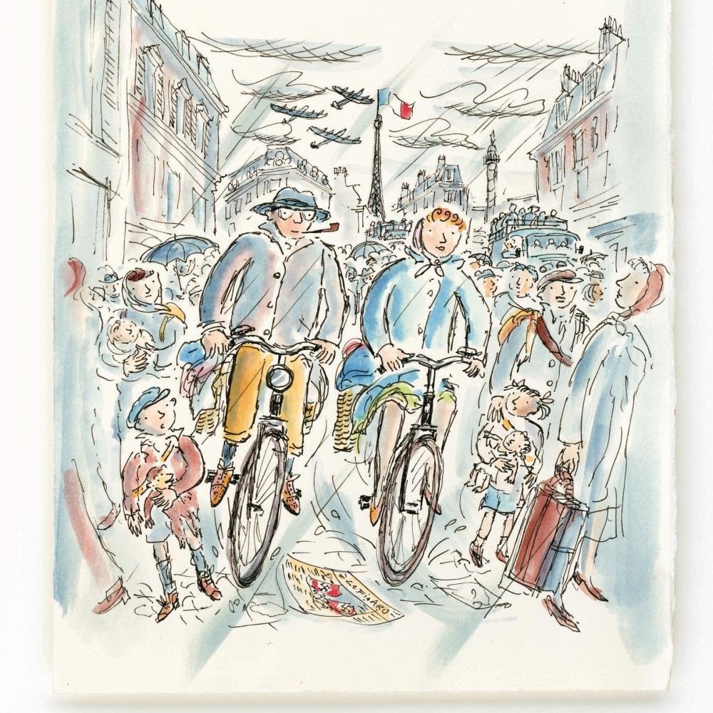 Pastel drawing of a man and a woman riding their bicycles down a crowded Paris street