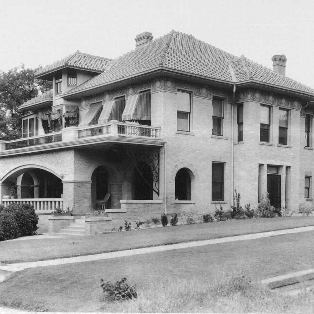 Black and white photo of the Reed family home