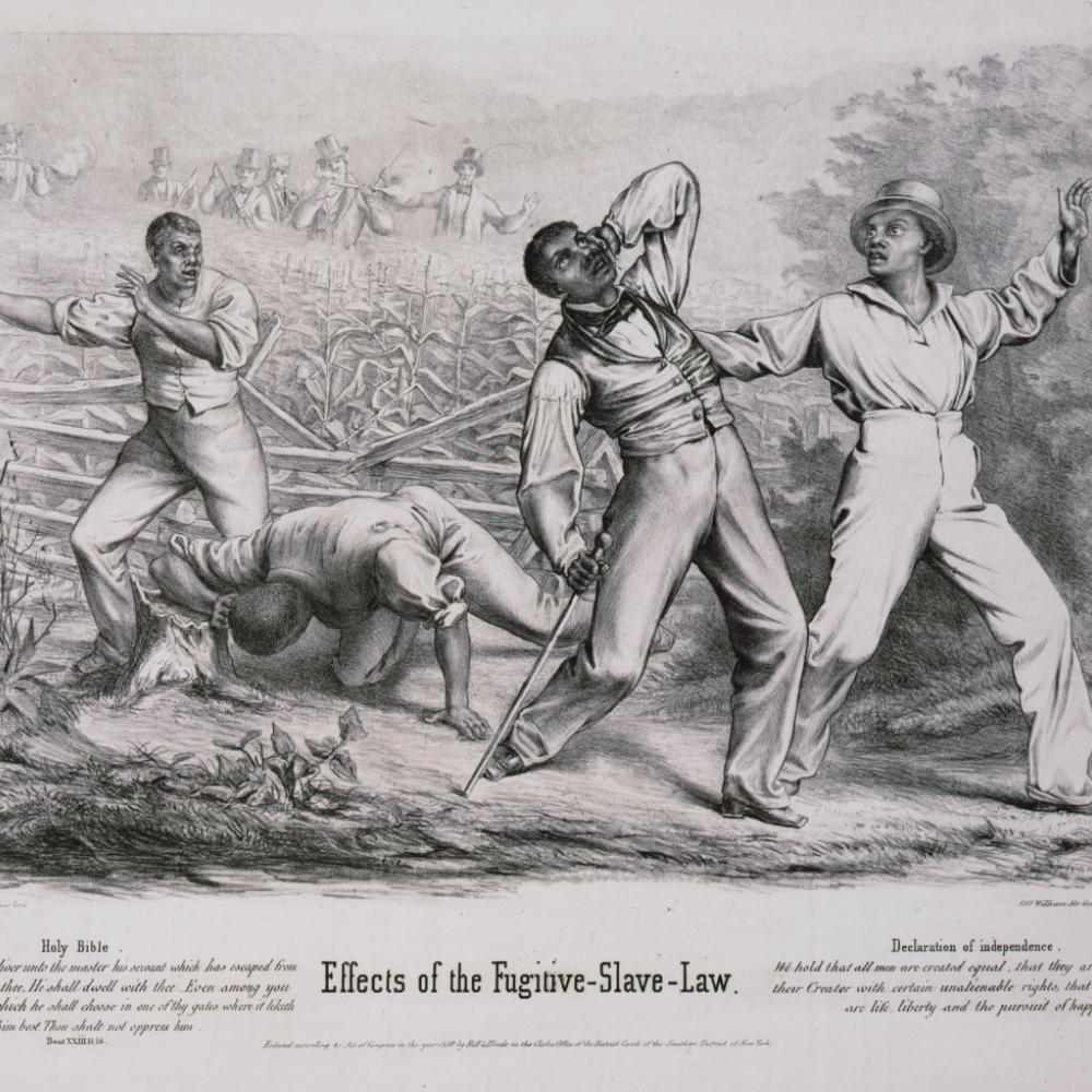 Black and white drawing of slave men being shot at from behind by white landowners.