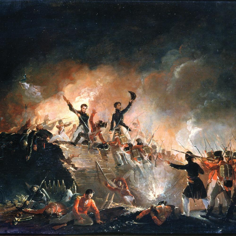 Painting of a battle where an officer is standing atop a rampart urging his men to charge. Soldiers of the opposing side aim their rifles at him.