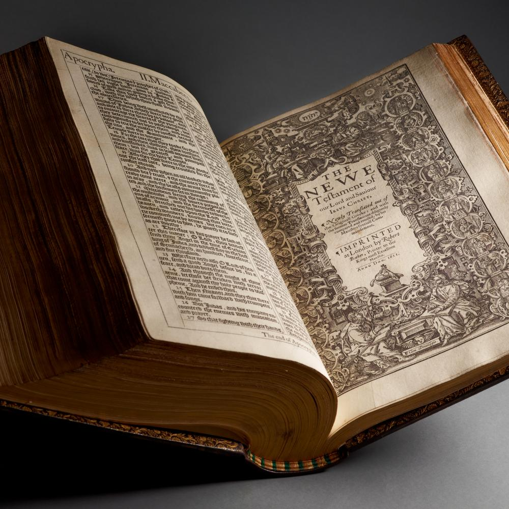 Photo of a large King James Bible.
