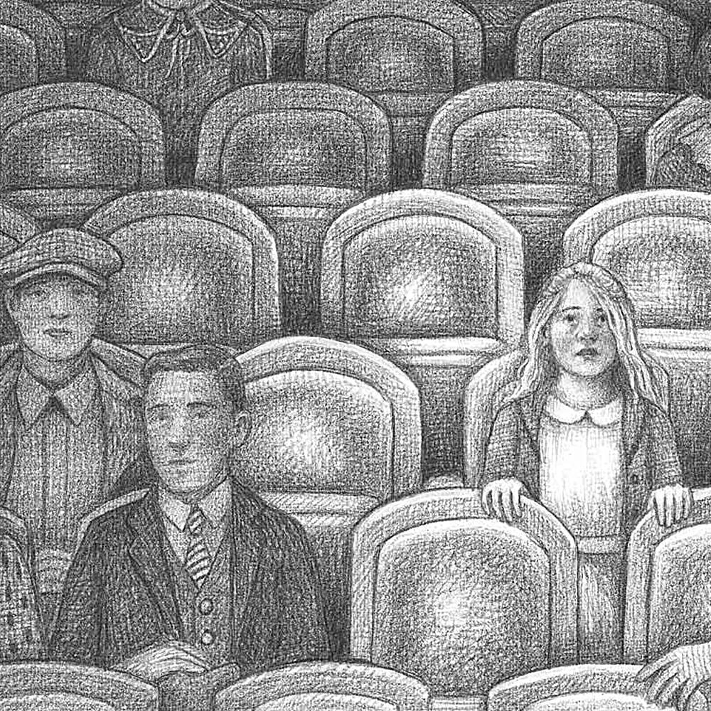 Black and white sketch of a few people sitting in a theater.