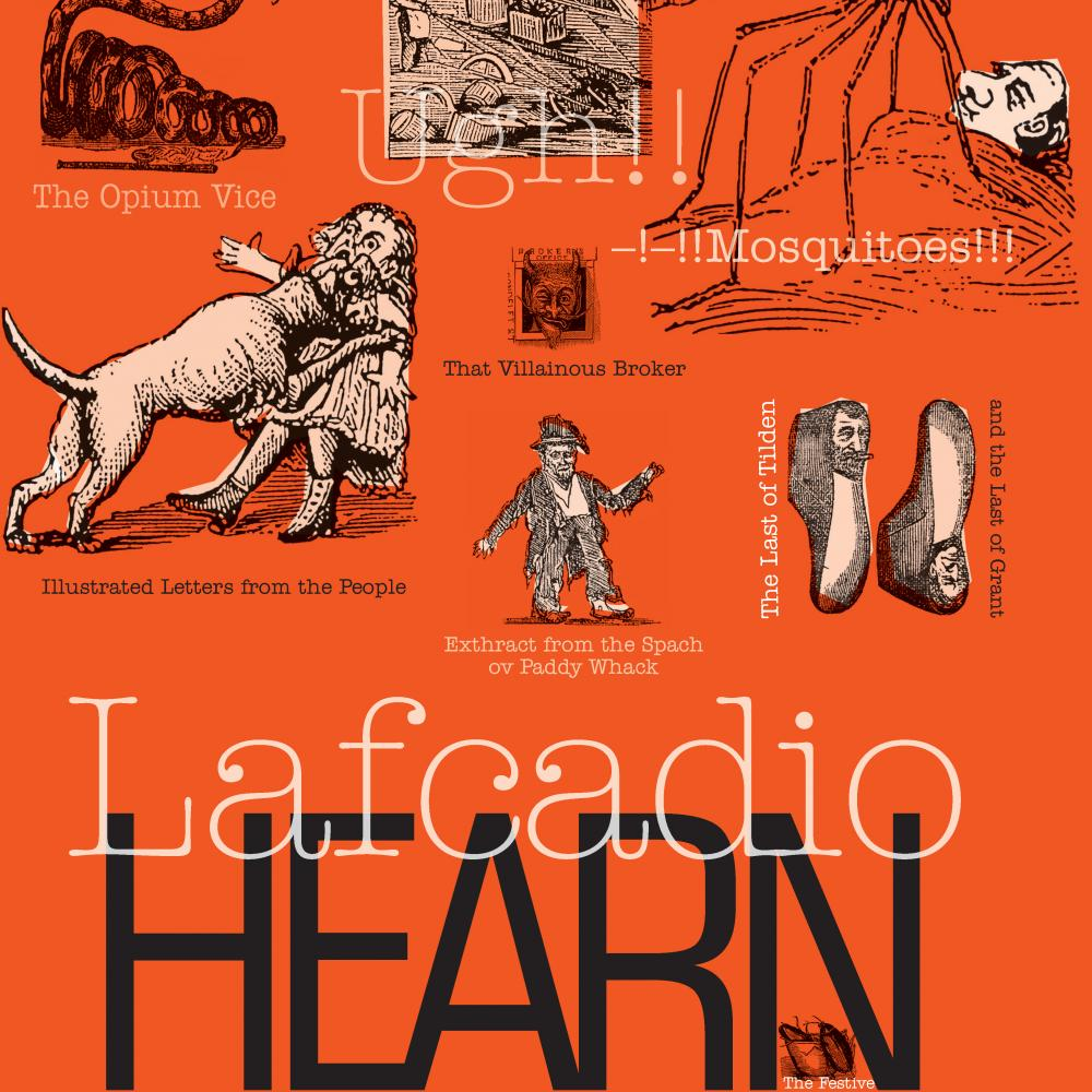 Orange poster advertising the work of Lafcadio Hearn.