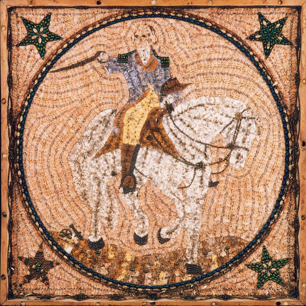 Colorful mosaic of George Washington riding atop a horse, made with bugs.