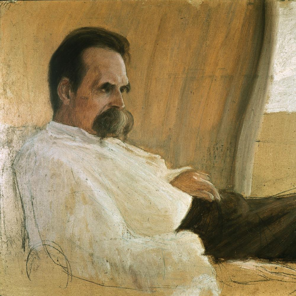 Painting of Friedrich Nietzsche on his death bed.