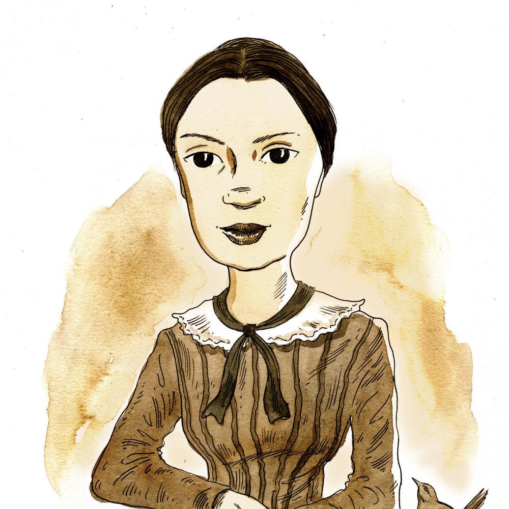 Color illustration of Emily Dickinson sitting with her hands crossed over a book.