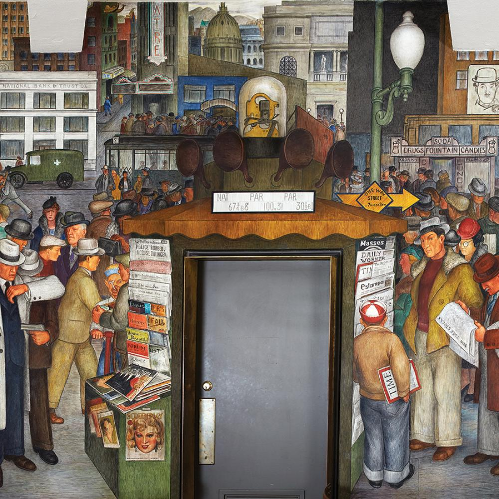 Mural of a busy San Francisco street: cars driving by, people at an open market, buying newspapers, with the city in the background