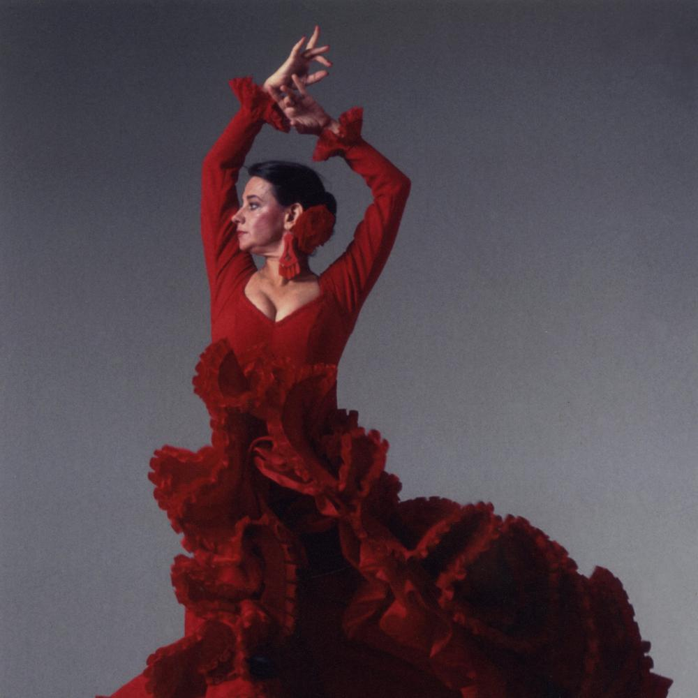 Photograph of female flamenco dancer in red dress