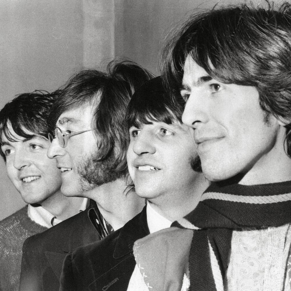 Close up shot of The Beatles