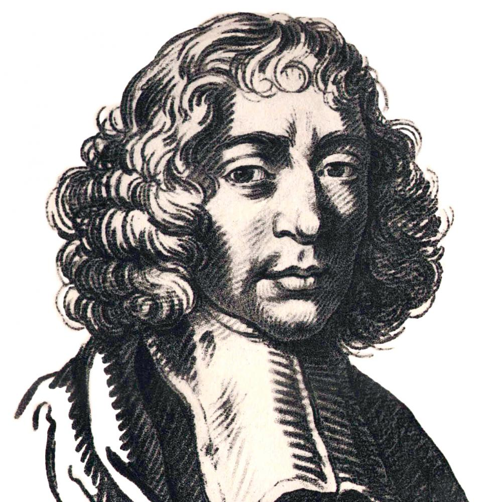 Illustration of Spinoza in a white cravat, with shoulder length curly hair