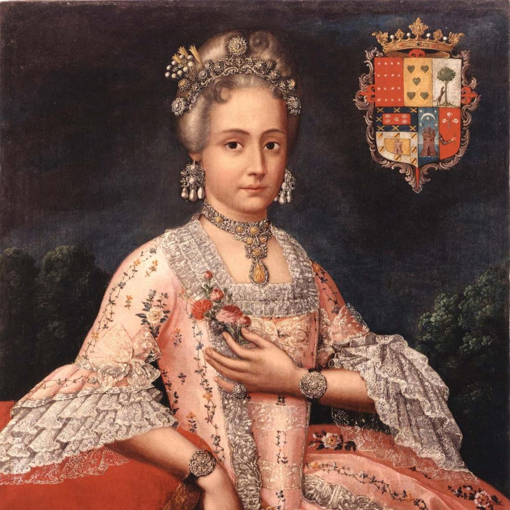 The Countess, wearing a pink dress with elaborate embroidery