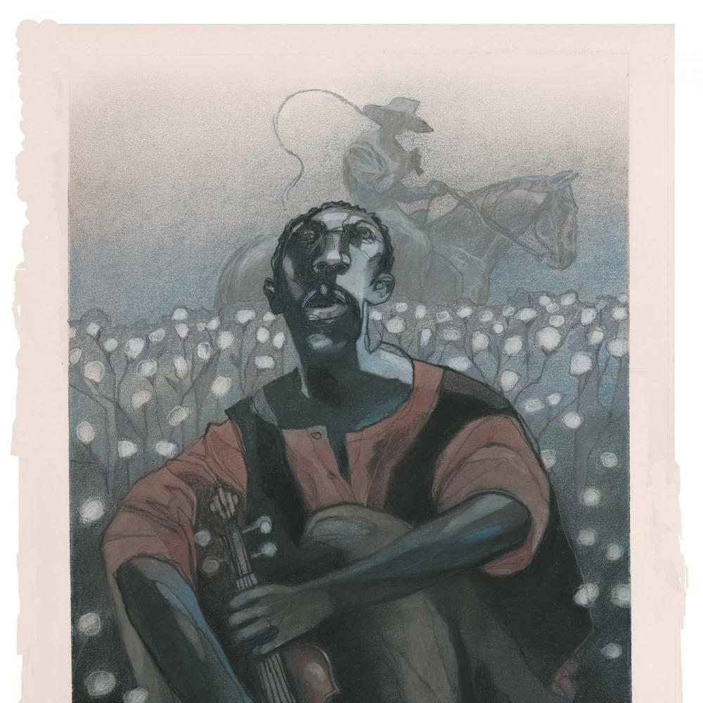 An African American man looks up to the sky and holds a violin, while sitting in a cotton field. a white man on a horse rides in the background