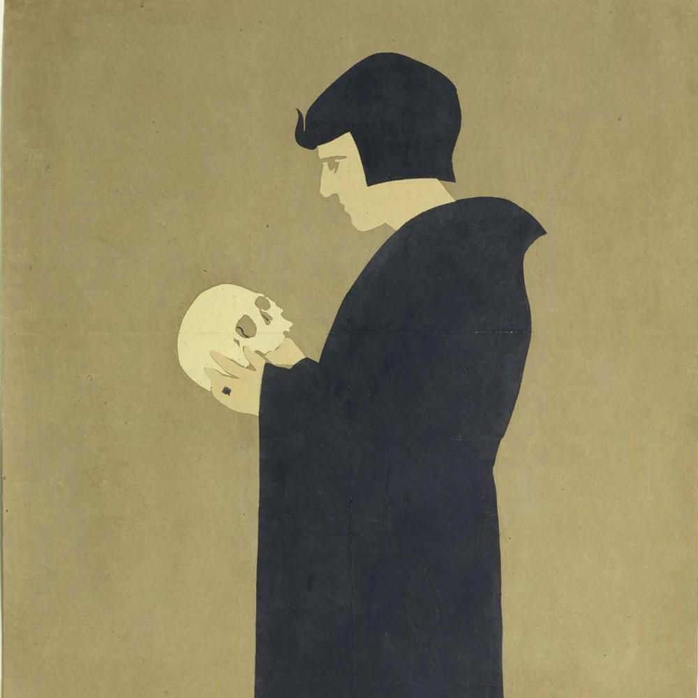 Side view illustration of a black-robed hamlet, holding a skull