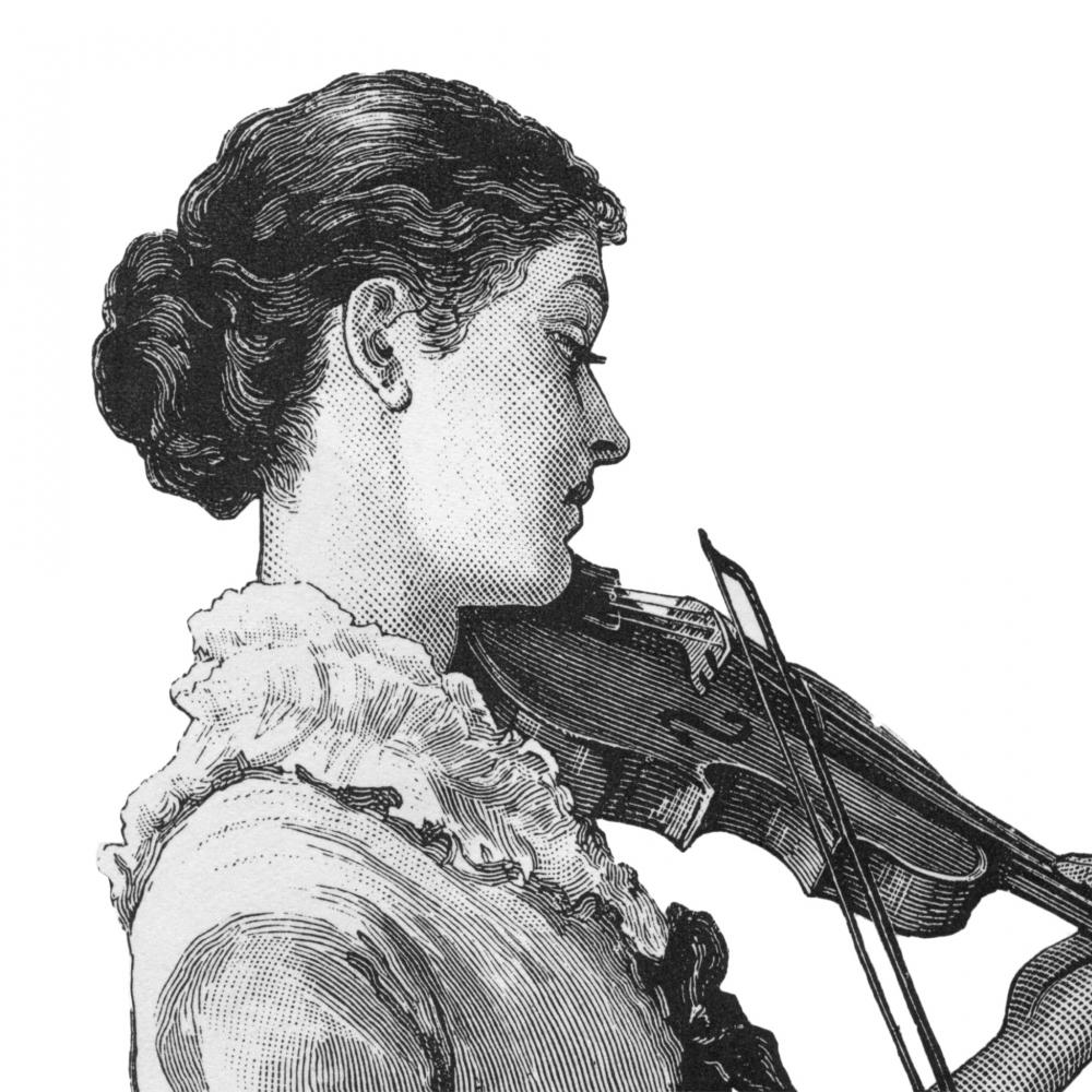 Drawing of a woman, hair in a low bun, playing the violin