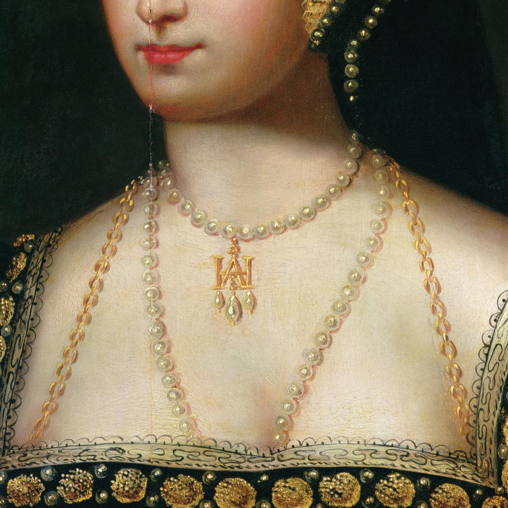 Color painting of a woman wearing pearl necklaces.