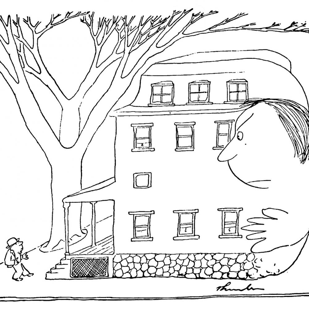 A comical illustration, in black and white, depicting a small man standing outside a house that has anthropomorphized and is trying to walk away from him.