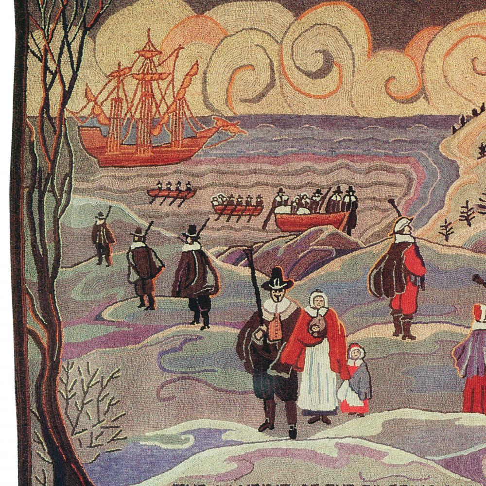 A color tapestry depicting the landing of the Pilgrims in 1620.