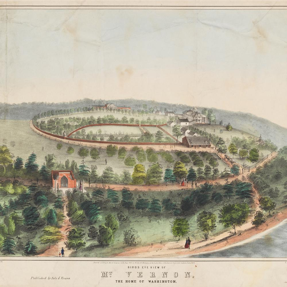 Color illustration of Mount Vernon as seen from a bird's-eye view.