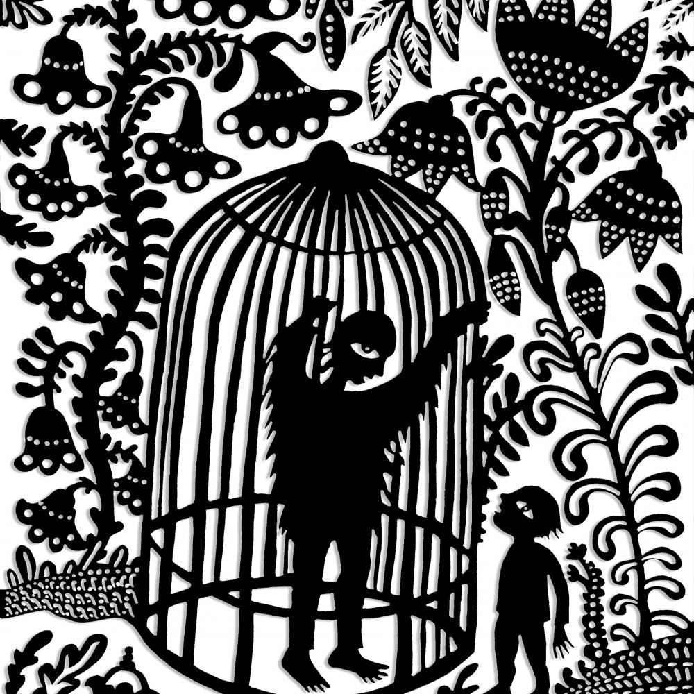 A black and white illustration of a man in a cage gesturing to someone outside.