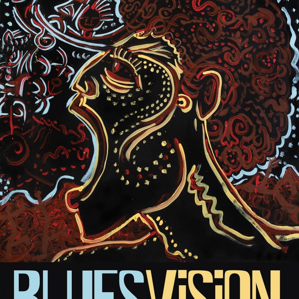 Cover of Blues Vision, depicting a side profile of a man with his mouth open, drawn in red, yellow and blue lines on a black background