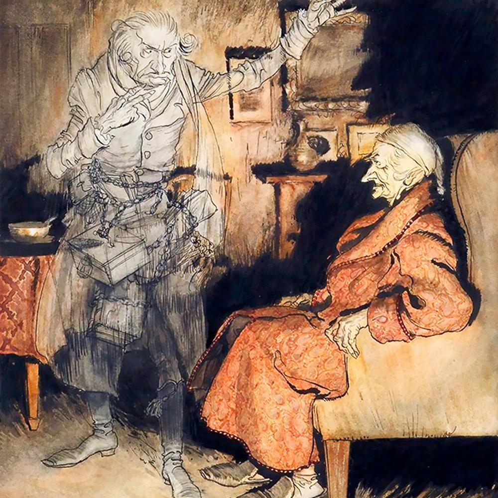 Scrooge sits in an armchair, wearing a nightcap and red robe, glaring at the ghostly, blue-gray form of Marley, who stands over him with hands in the air