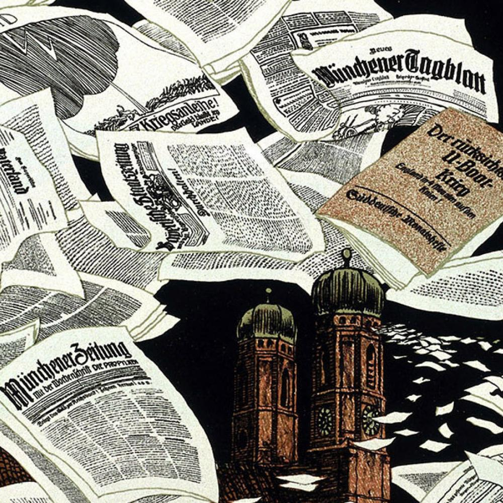 drawing of sheets of newspaper strewn about, all in german