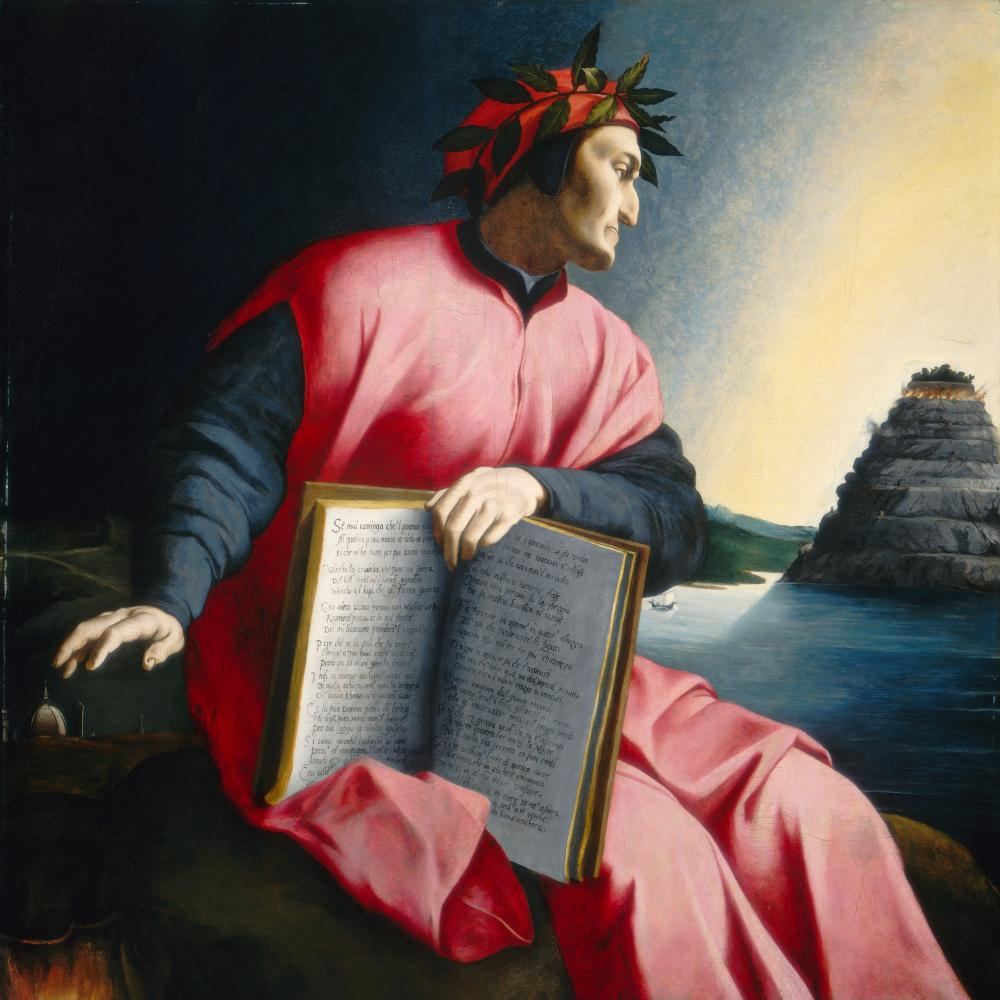 painting of a man in a pink robe, holding book
