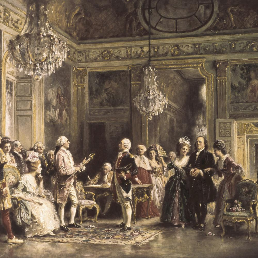 Oil painting of a large, grand room filled with people