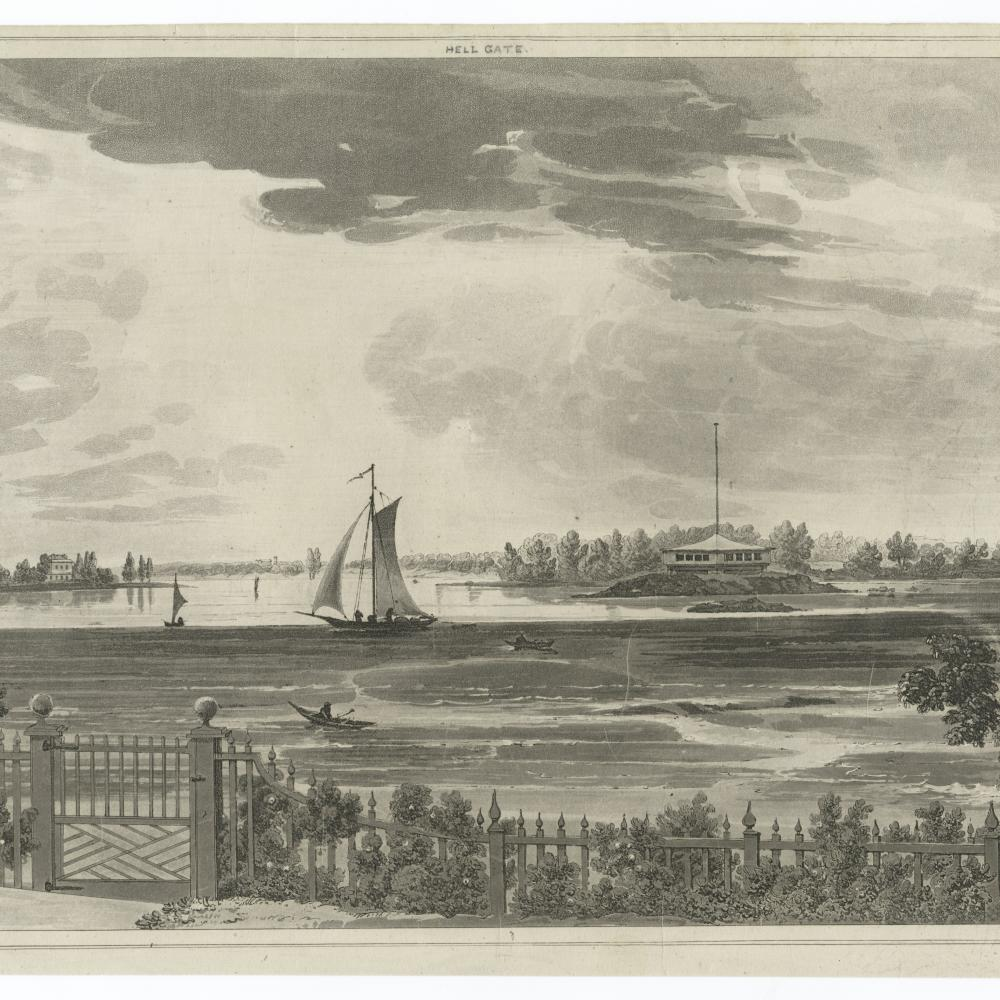 Black and white etching of a view of a lake, sailboat