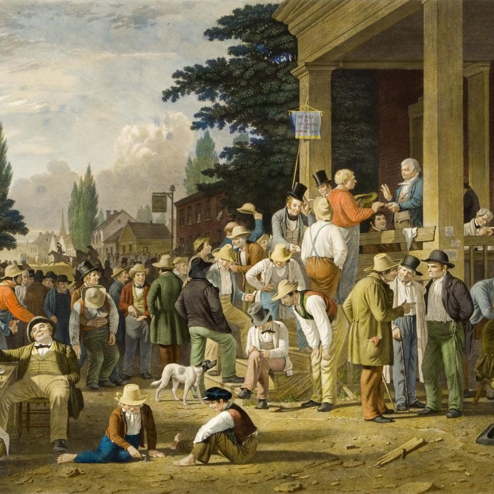 George Caleb Bingham's The Country Election depicts 19th century voting.