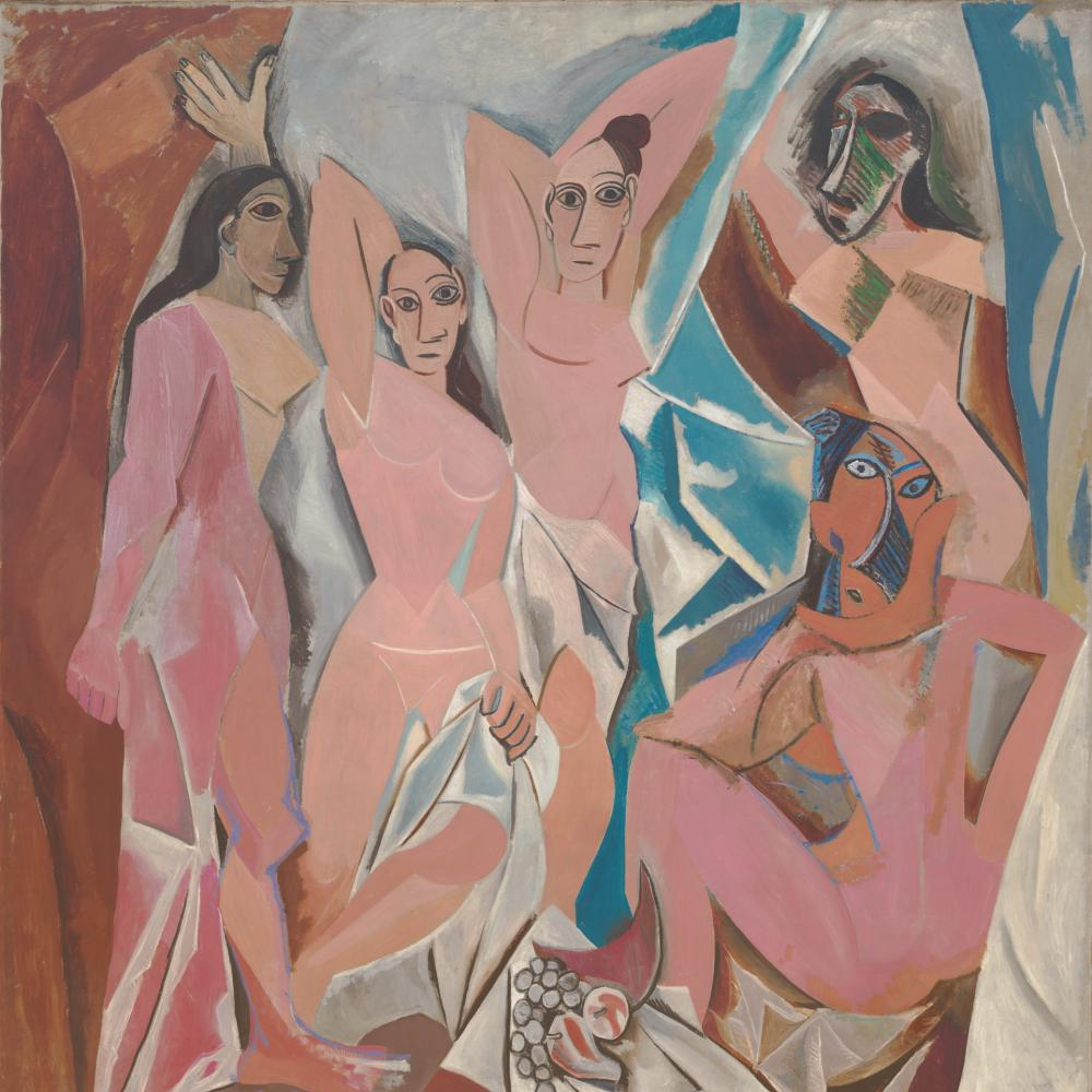 Pablo Picasso's painting, Les Demoiselles d'Avignon, which shows several women in abstract shapes.