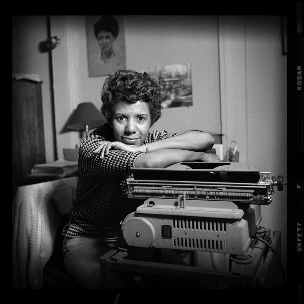 Lorraine Hansberry at a type writer