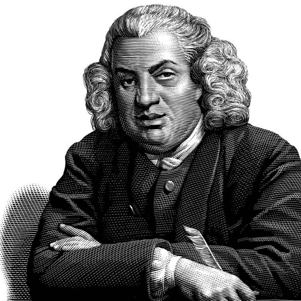 an illustration of Samuel Johnson, bewigged and dignified