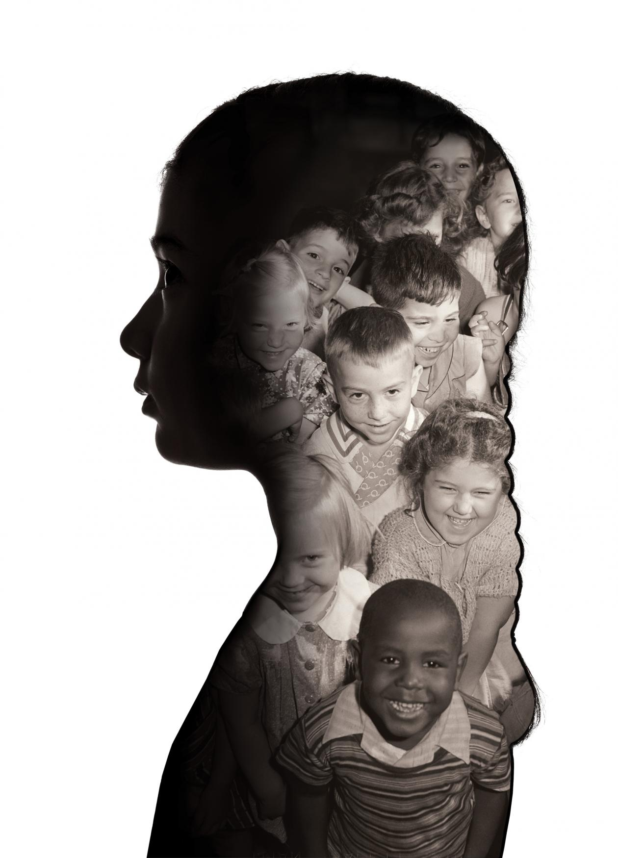 silhouette of a woman, with photos of children superimposed on top of the silhouette