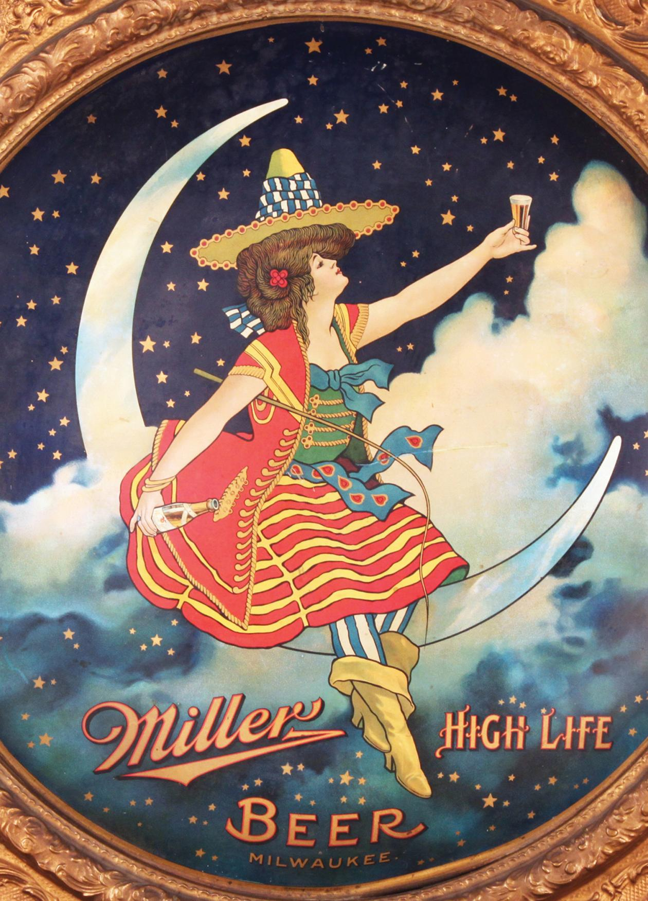 1907 Miller High Life lithograph, depicting a girl in a striped dress, sitting on a crescent moon, holding a glass of beer