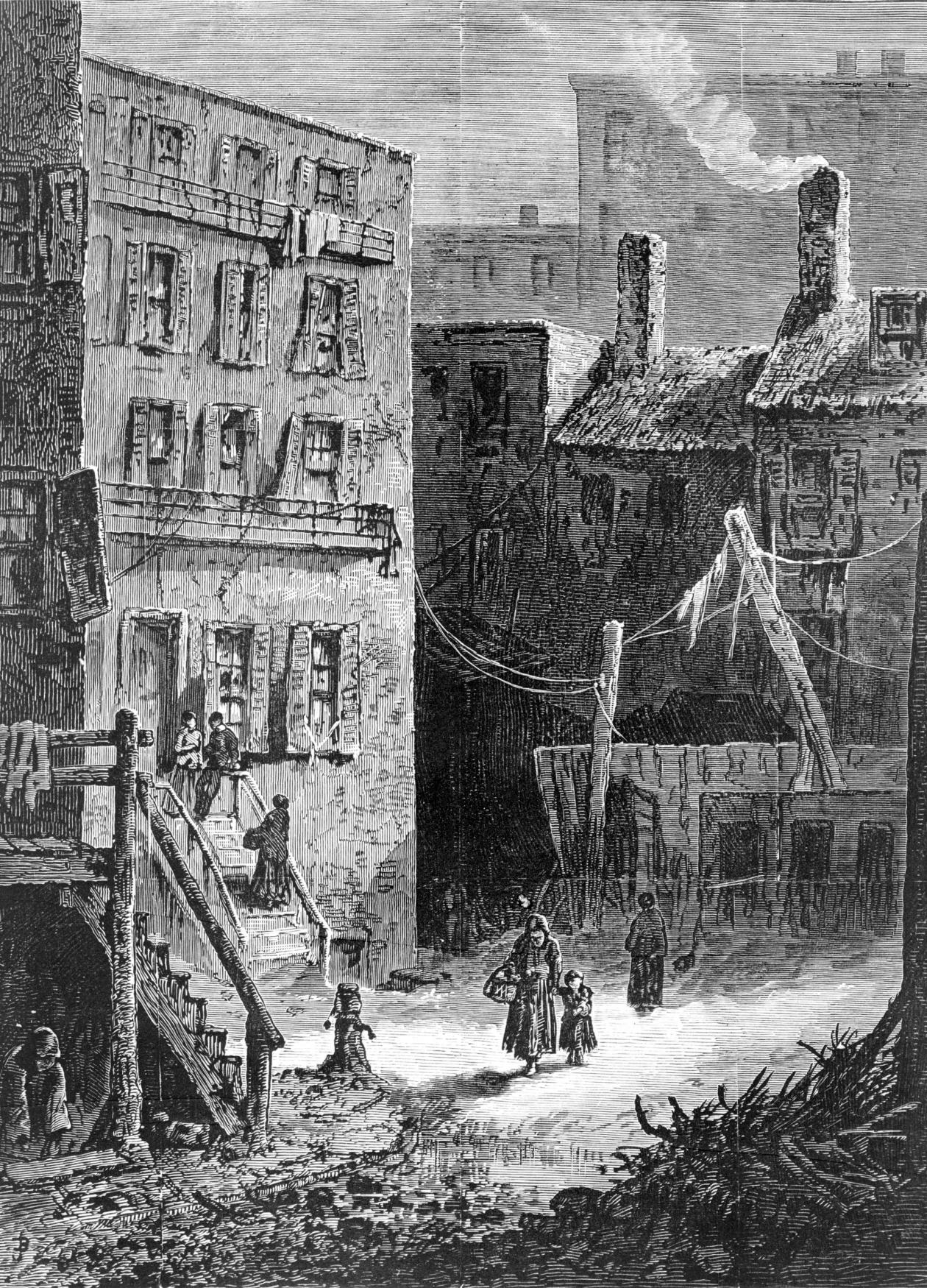 Newspaper illustration of impoverished people surrounding by buildings
