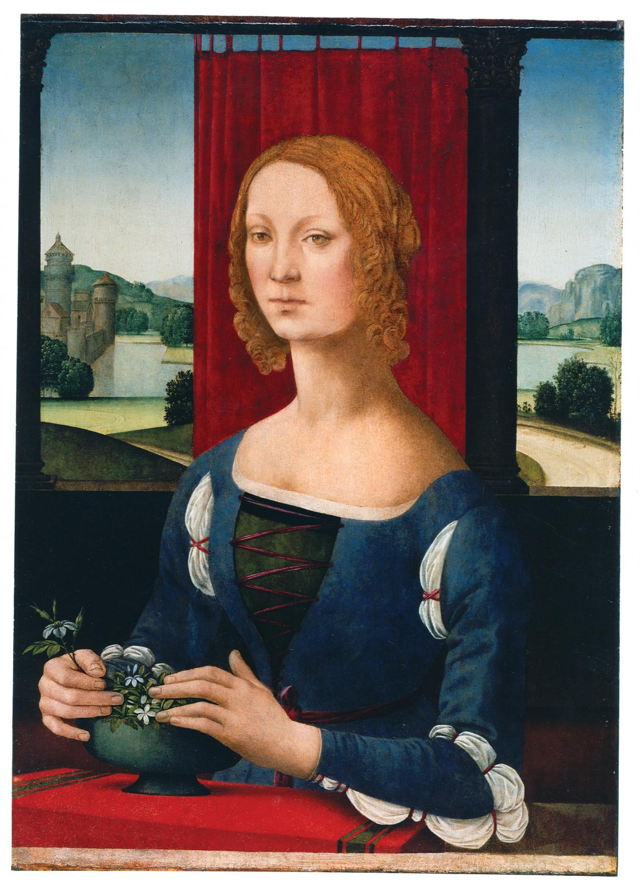Painted Portrait of red haired woman with her hands in a bowl of flowers